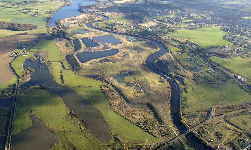 Aerial view of the reserve, with the river Aire alongside