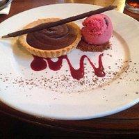 Chocolate Tart with blackcurrant sorbet