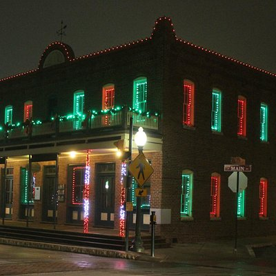 Christmas decorations Downtown Grapevine.