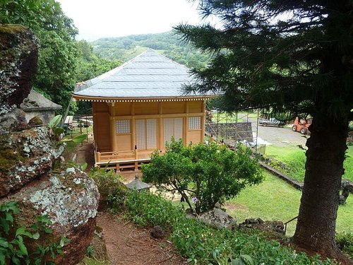 Lawai International Center. Japanese building made with no nails. Prayer stations on hill. A spe