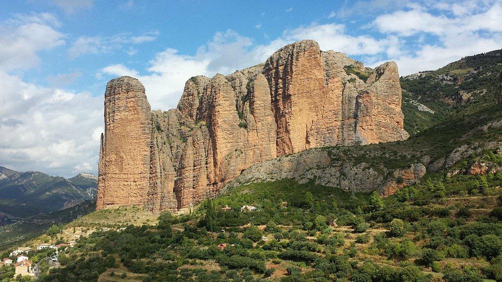 The Mallos de Riglos are a set of conglomerate rock formations in Hoya de Huesca comarca, Aragon