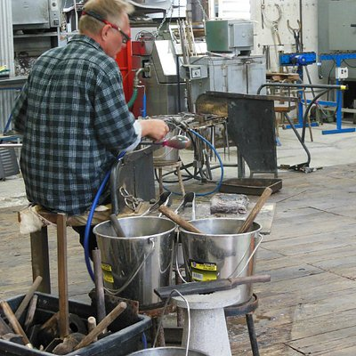 During the making of a glass vase
