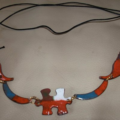 Enamelled Jigsaw thong necklace