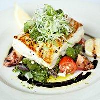 Trevalla with panzanella salad