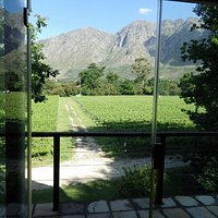 View from the Boekenhoutskloof tasting room to the Hottentots-Holland Mountain