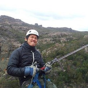 My friend about to abseil