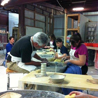 Pottery class on wheel