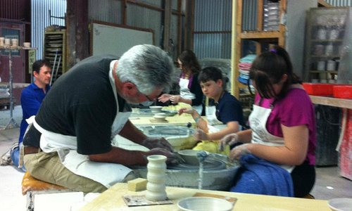 Pottery class on wheel