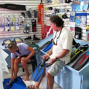 John with a customer