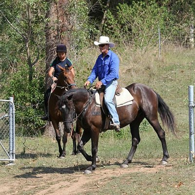 Vince on Merlin training a young girl on Misty