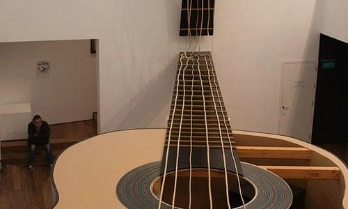 Giant model of a guitar inside the museum