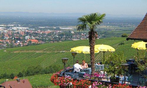 Phantastische Aussicht ins Rheintal und zu den Vogesen in Frankreich