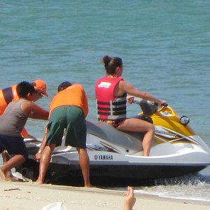 Staff helping us get set up on the Jet Skis