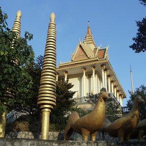At the foot of the pagoda.