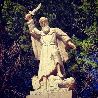 Statue commemorating Elijah's slaughtering of the prophets of Baal, which would have occurred in