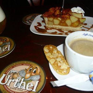 Apple tart, coffee and beer
