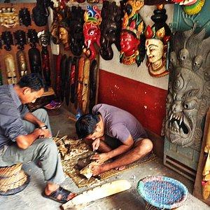 Mask Carving with Kedar Dhanuki in the backstreets of Thamel.