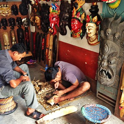 Mask Carving with Kedar Dhanuki in the backstreets of Thamel.