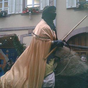 Passage des chameaux pendant le marché de Noël