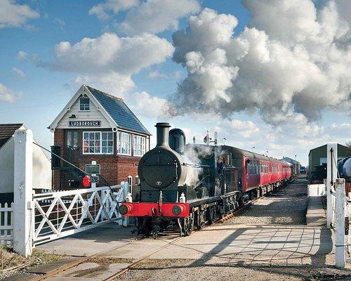 Steam train leaving Ludborough station