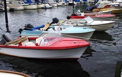Classic plastic boats in the upcoming Museum Harbor. Photo Arve Lindvig