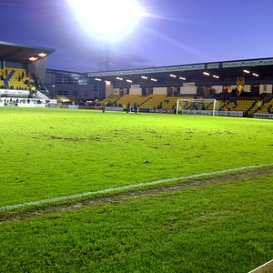 Plainmoor with the Floodlights on.
