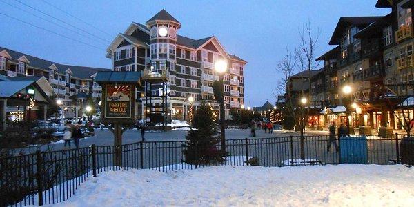 Snowshoe village at night