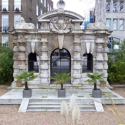 Historic Water Gate landmark at Victoria Embankment Gardens
