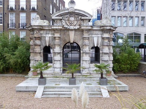 Historic Water Gate landmark at Victoria Embankment Gardens