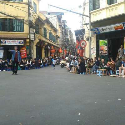 Bia Hoi,plastic stools on a street corner