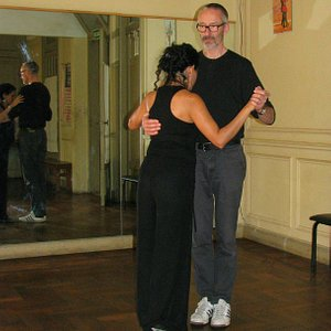 Me making my first steps of tango with Lucia