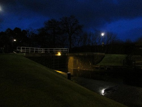 The locks by night.