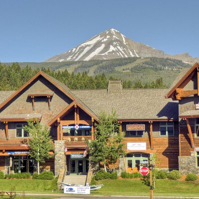 Our main location in the Big Sky Town Center - with a beautiful view of Lone Peak.