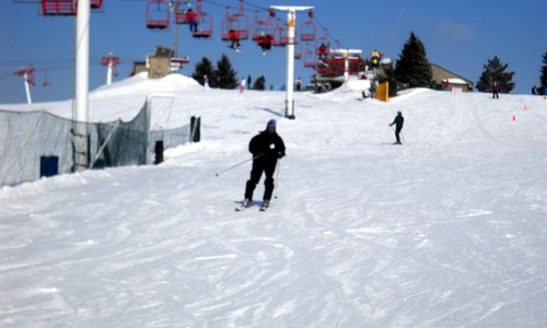 This is one of the beginner hills with its ski lift- not intimidating at all!