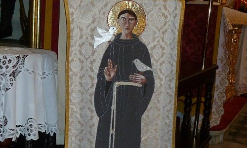 Embroidery & applique figure of Saint Francis on the lectern