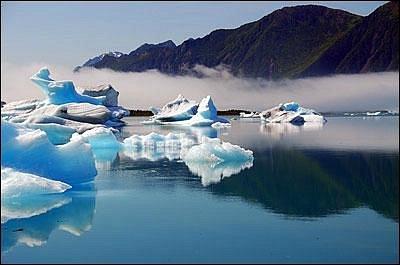 Iceberg Reflection at Bear Glacier. Bear Glacier Wilderness Retreat