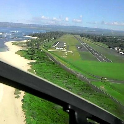 In the final turn for power-off landing at Dillingham Airfield.