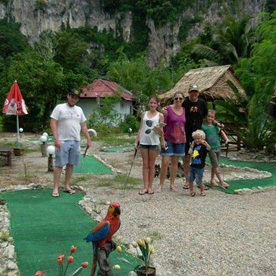 They're having fun with playing minigolf. Whoop whoop. ;)