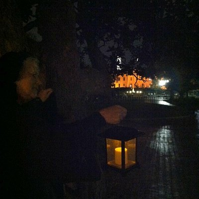 Taken on Ghost Story Tour of Washington as we walked to the old graveyard site in Lafayette Squa