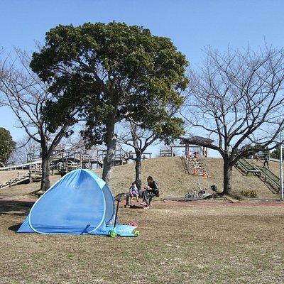 テントを張ってくつろぐ家族もいます
