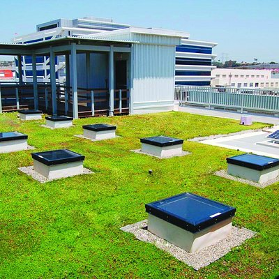 Our living green roof is irrigated with recycled water and features solar panels