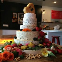 A signature of our shop, a wedding cake made out of cheese