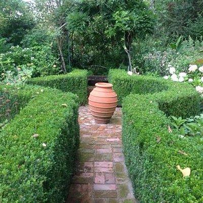 Formal garden area.