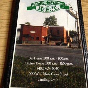 West End Tavern menu cover