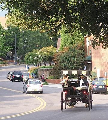 Carriage rides are available between West End and Downtown along Fourth Street