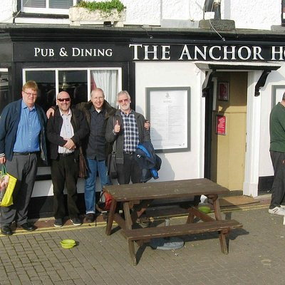 Some of our crwod outside the pub