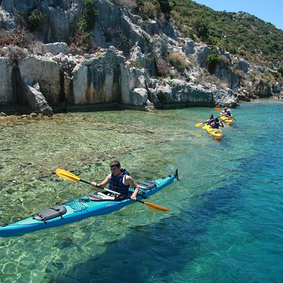sea kayaking by sunken city
