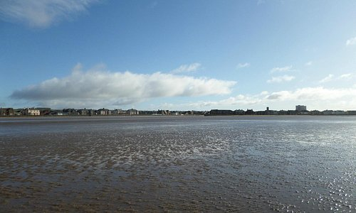 view of saltcoats/ ardrossan at low winter tide from south beach