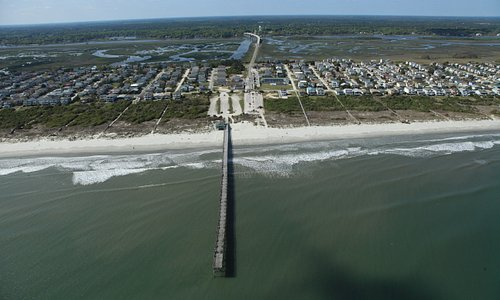 Aerial View of Sunset Beach Pier & Bridge