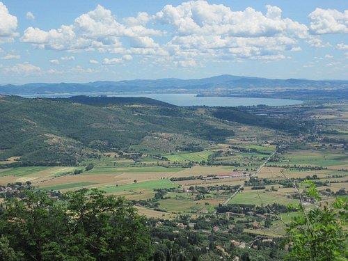 View from atop the hill-city of Cortona looking toward Lago Trasimeno